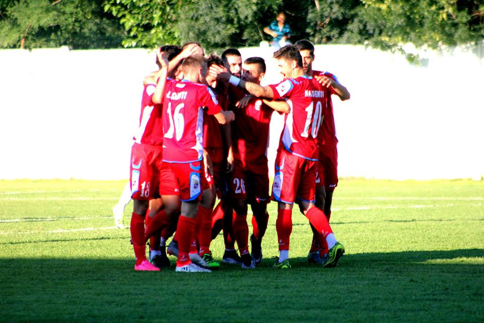 The players of Rabotnichki celebrate their winner; photo: FK Rabotnichki