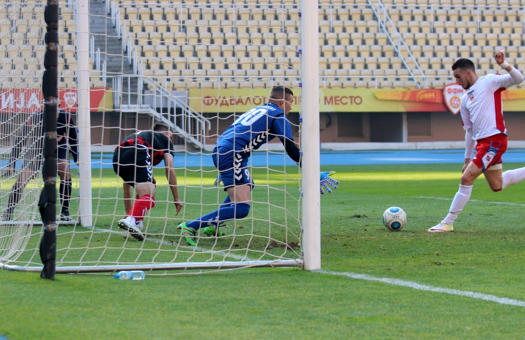 Sahiti takes the lead against Vardar; photo: FK Rabotnichki